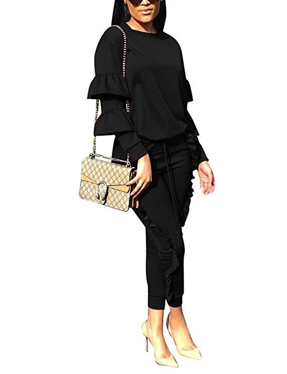 af7967807 Subtle Flavor Women 2 Pieces Outfits Puff Sleeve Top and Long Ruffle Trousers  Sweatsuits Set Tracksuits Black Small