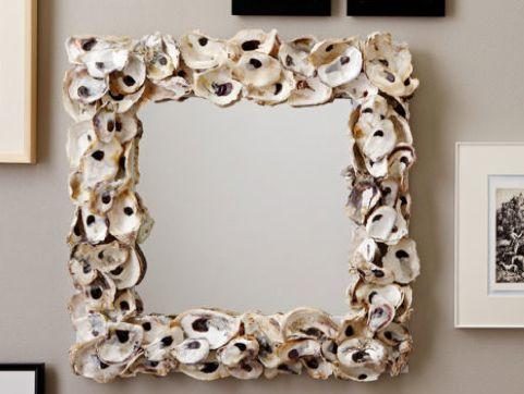 Lulu DK - Oyster Shell Mirror: Oysters Mirror, Crafts Ideas, Interview Lulu, Crafts Bucketlist, Seashells Mirror, Beaches Houses, Oyster Shells, Shells Mirrorpng, Lulu Dk Oysters Shells Mirror
