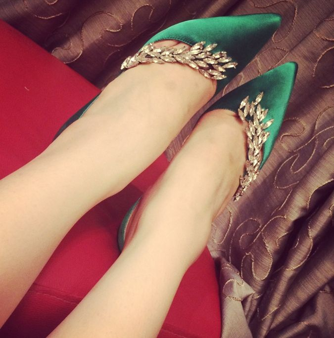 SH228 FROZEN FEVER Elsa shoes spring green with crysal · angel-secret · Online Store Powered by Storenvy