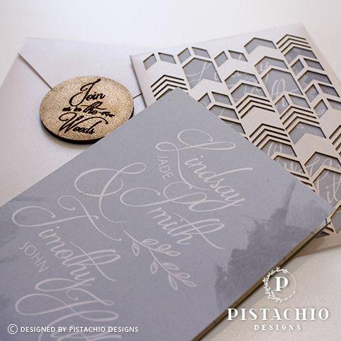 Geometric modern design wedding invitation by www.pistachiodesigns.co.za