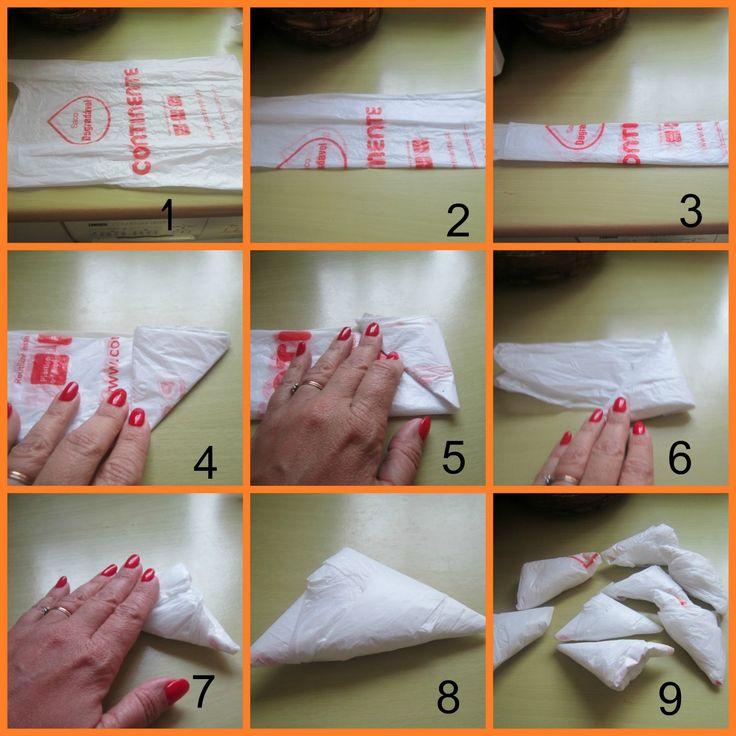 Ideas útiles para doblar y organizar las bolsas de plástico recicladas