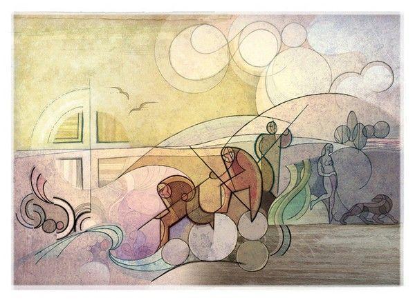 Titolo: Cercatori, Tecnica: tecnica mista su cartoncino, Dimensione: 32x44, Artist: Roberto Viesi