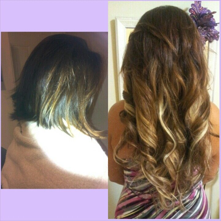 Now this is a before & after. Love to see results! Hair extensions, fusion bonds, length, volume, highlights - Hair by Tanja