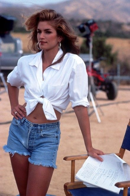 Cindy Crawford - White Shirt Denim Shorts