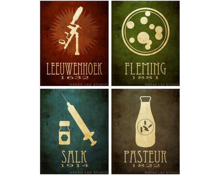4 Microbiology 3.5x5 Prints  Pasteur Fleming Salk by meganlee, $12.00