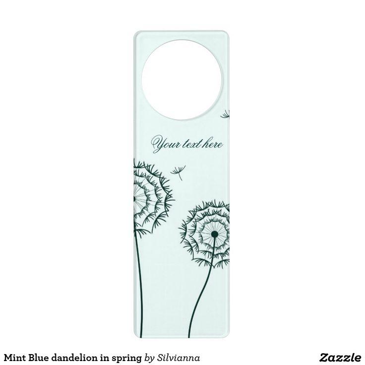 Mint Blue dandelion in spring Door Hangers