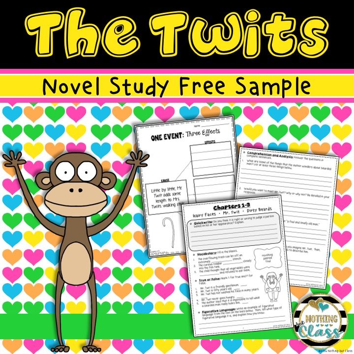 7 page FREE novel study sample for The Twits. Includes student work for Chapters 1-3, a cause and effect activity, and all answer keys. Common Core-aligned.