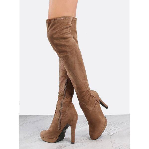 Thigh High Suede Platform Boots TAUPE (365 HRK) ❤ liked on Polyvore featuring shoes, boots, brown, sexy thigh high boots, taupe suede boots, suede boots, platform boots and brown high heel boots