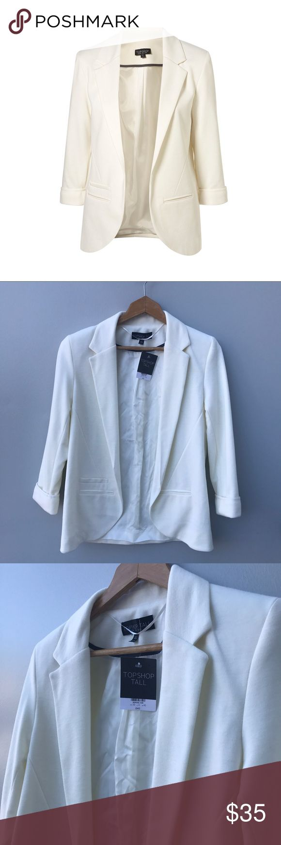 TopShop TALL Ponte Suit Jacket Blazer sz 6 NWT NWT. Never worn. Ivory tall lined ponte blazer from TopShop. Didn't pay attention that it's for a tall person. And I'm short. Size 6 / UK 10. Really beautiful cut jacket. Topshop Jackets & Coats Blazers