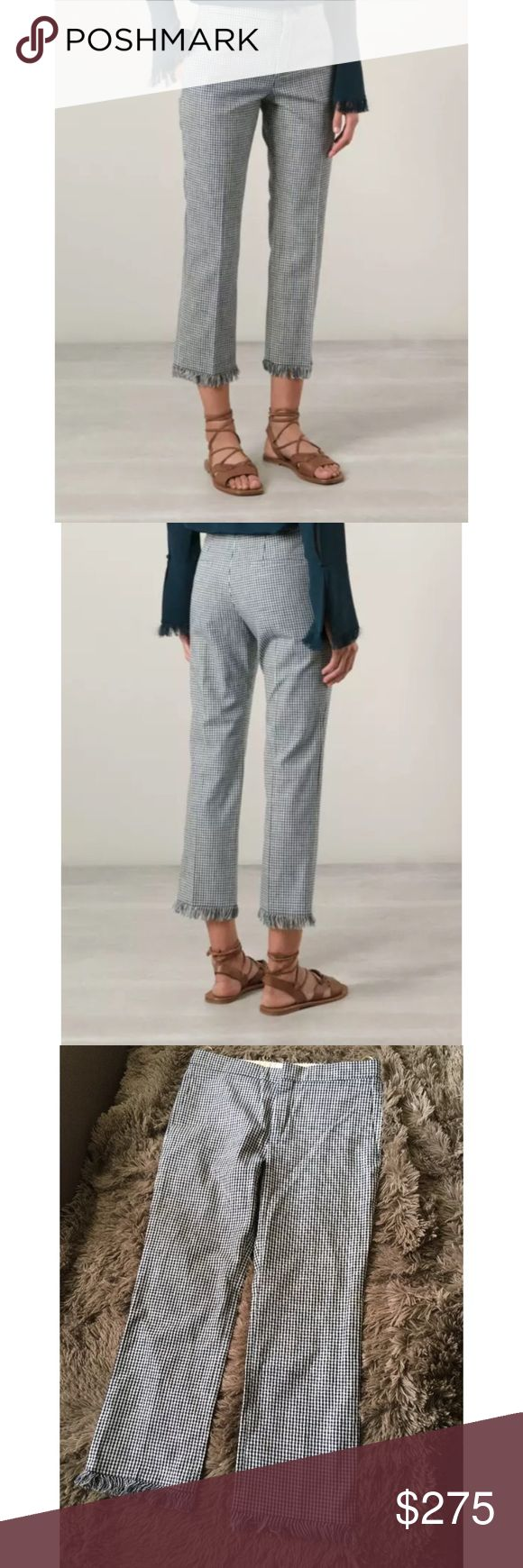 CHLOE Spring 2015 Gingham Frayed Crop Trouser CHLOE Spring 2015 Gingham Frayed Crop Trouser  Price $1250  Size 36/ 4 US  Color Navy Cream  gingham check trousers from Chloé featuring a waistband, a concealed fastening, fringed edges, two inset pockets to the sides and rear welt pockets.  Made in Italy Cotton 100% Dry Clean Waist: 16 Hip: 18.5 Inseam 24 Front Rise:10.5 PRE-OWNED: Gently used. There are 2 spots (one on front hip, another on back near calf).  Not sure if they can be dry cleaned…
