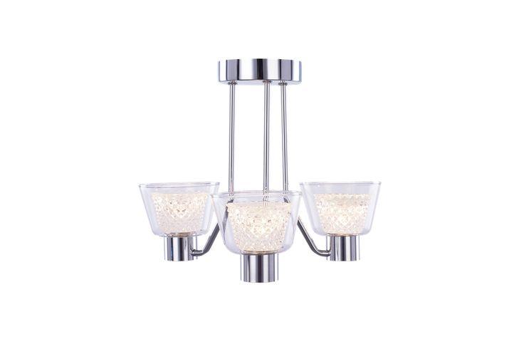 Home lighting, bathroom rated IP44. flush fitting. Diamond 3Lt Flush. Illuminati Lighting.