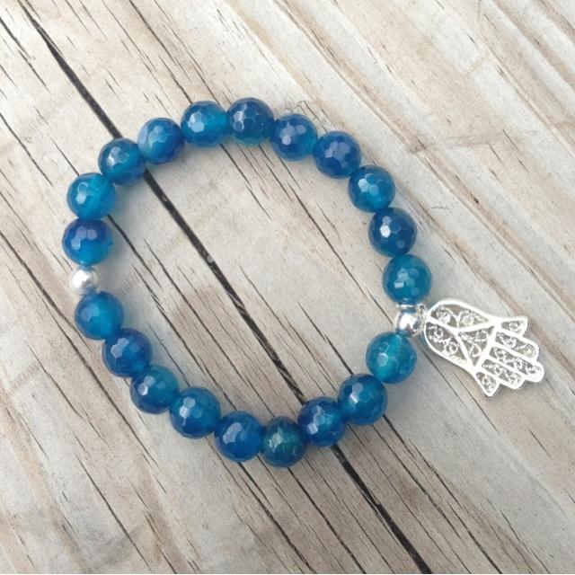 BUDDHIST RELATIONS   Perlas Azul -Aplique Plateado