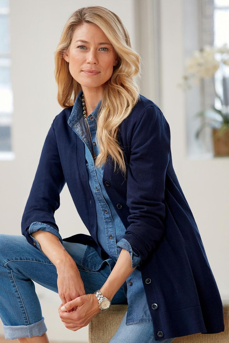 Add a long cardigan to an entirely denim ensemble. - The Boyfriend Cardigan | Chadwicks of Boston