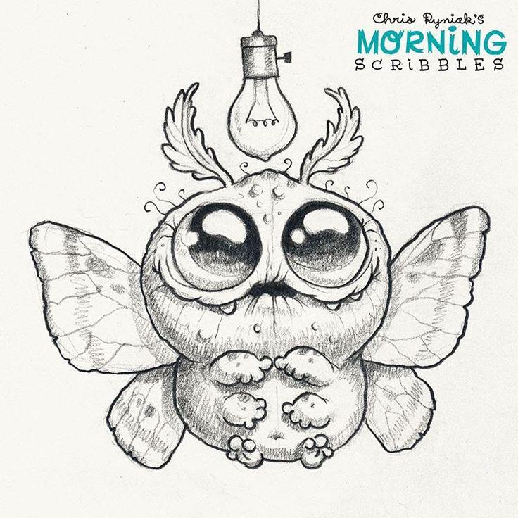 Big Moth! #morningscribbles #moth cute art by Chris Ryniak