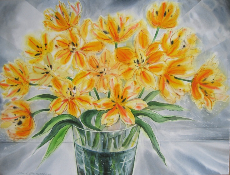 "Artist: David Blackwood  ""December Tulips"", 2009  Watercolour   20 3/4 x 27 1/4 inches"