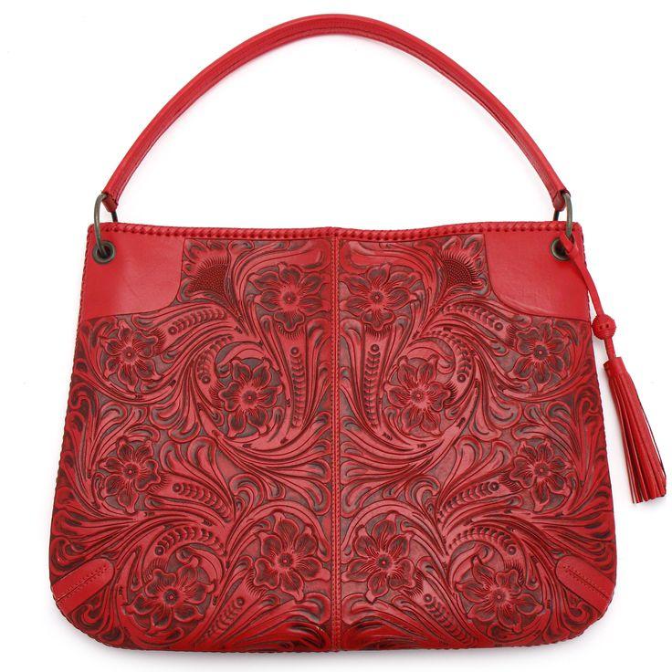 Red Tooled Leather Handbag At Maverick Western Wear