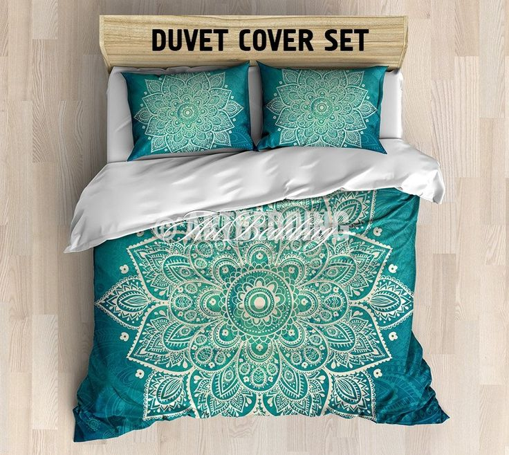 This beautiful lace mandala vith a vintage feelis combined with a grunge texture in turquoise green with traditional Indian design elements for an overall perfectly balanced and modern look. This boho chic bedding set will become the center point of any space. 3-piece DUVET COVER SETIncludes: 1 duvet cover / NO duvet insert/ and a set of 2 pillow coversOur Reversible down Duvet Cover set beautifully combines the practicality of a protective cover with the supreme softness of cot...