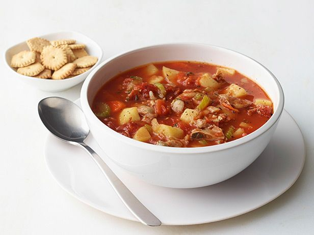 I actually prefer this broth based clam chowder to the New England version. Mmmmm. Manhattan Clam Chowder from FoodNetwork.com