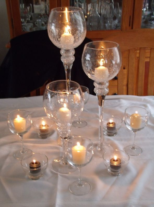 Wine glass candle centerpiece ideas the candles and i for Glass wedding centerpieces