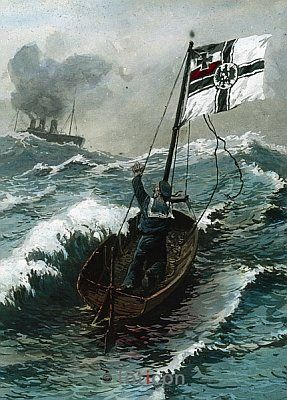 """WWI; """"The Last Man"""" German sailor in a boat with the German imperial flag. Collection Carl Simon-Deutsche Fotothek"""