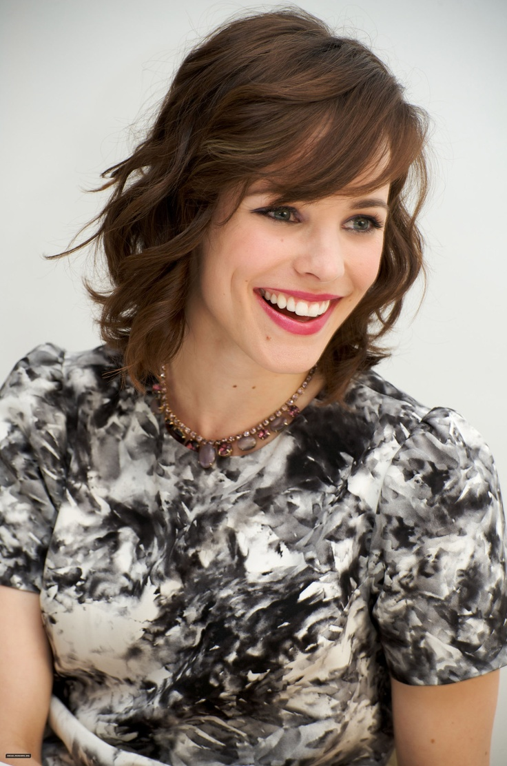 Rachel McAdams - my hair is about this length  I think bangs will help make the growing out process look a little better