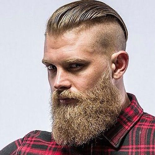 Manly Beard - Undercut with Long Slick Back and Thick Beard