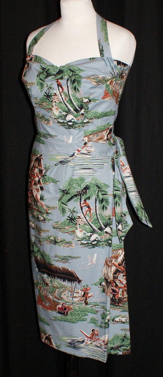 Vintage des années 1950 inspiré hawaïen paréo halter wiggle robe rockabilly de VLV S impression traditionnelle îles Viva