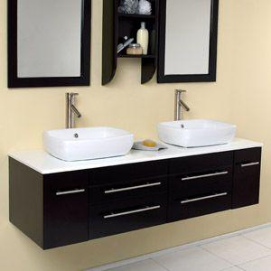 Best Double Vanities Images On Pinterest Bathroom Ideas - Vessel sink bathroom ideas