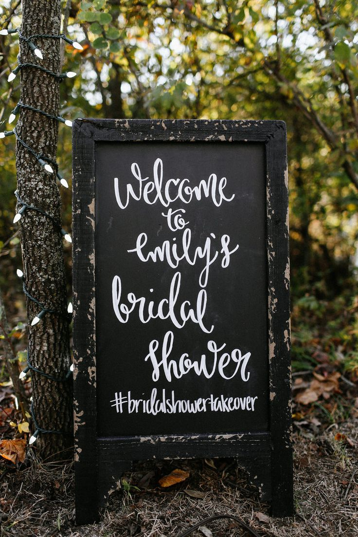 Bridal shower chalkboard welcome sign