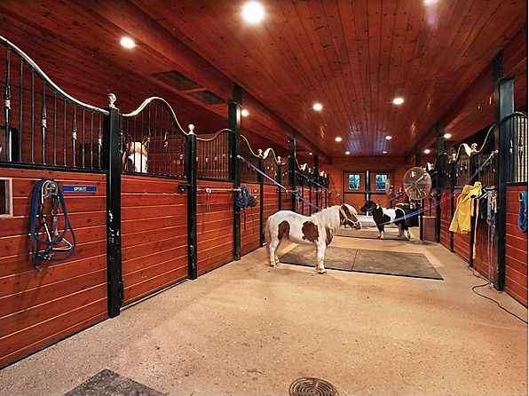 The two story barn has 9 stalls tack room laundry bath for Two stall horse barn
