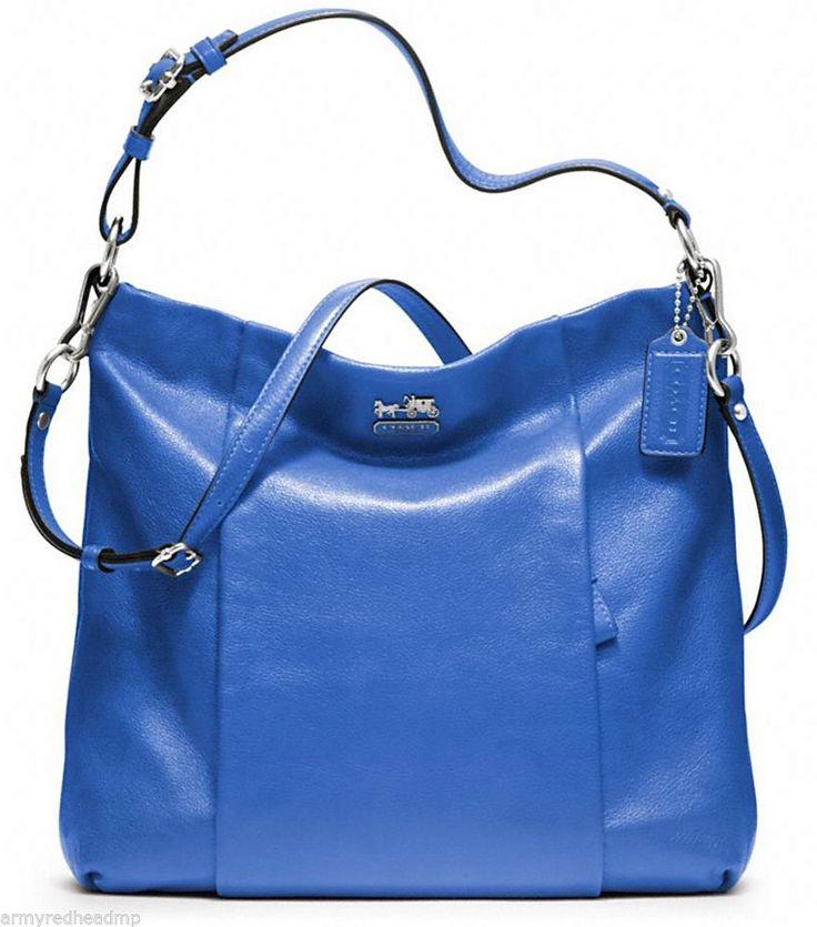 NWT Coach 21224 Madison Leather Isabelle Cobalt Blue Silver Hobo Shoulder Bag #Coach #ShoulderBag