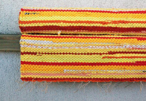 Hand woven Rag Rug  sunny yellow orange 207' x 538' by dodres, $47.00