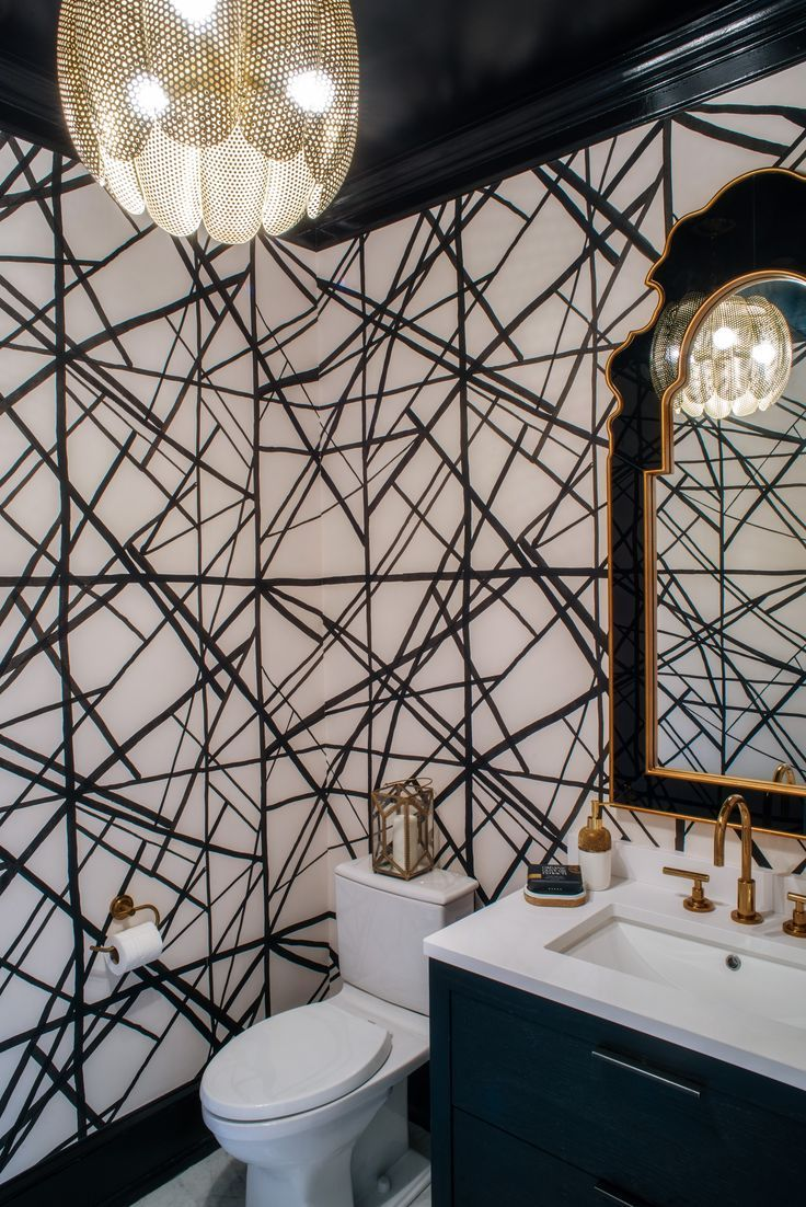 Black and White Powder Room with Bold Graphic Wall…