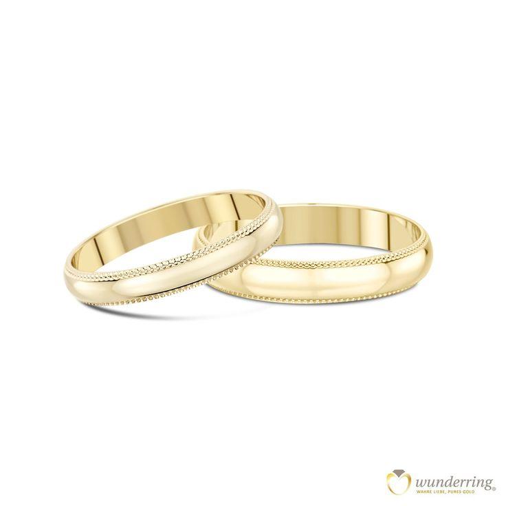 Eheringe Gold Koro 18 Karat (750er) mit bezauberndem Milgrain-Rand. Jetzt als Musterringe zu Hause testen! #Gelbgold #Trauringe #Hochzeit