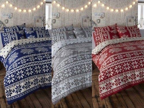 RETRO NORDIC ALPINE SNOWFLAKE PRINT REVSERSIBLE DUVET COVER BED SET