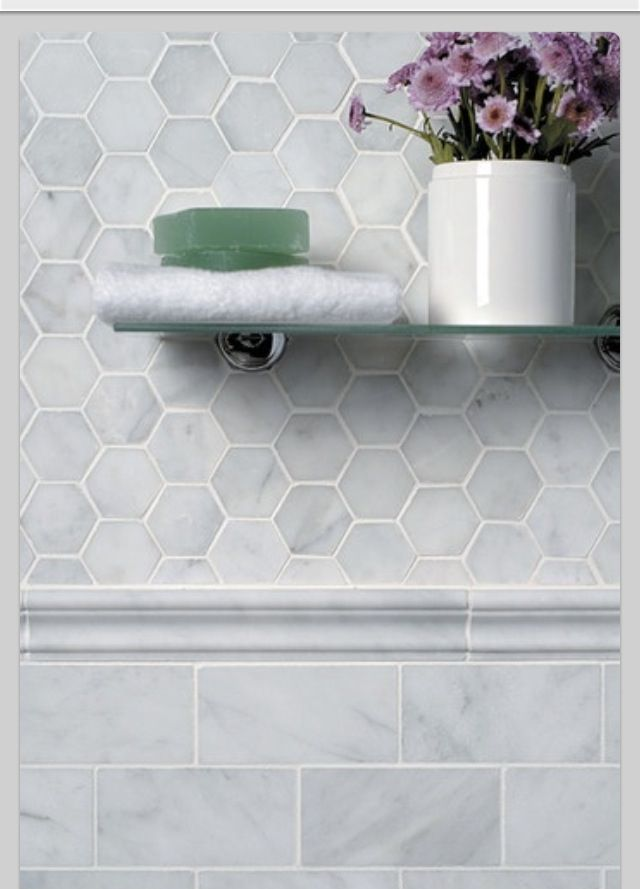 Bathroom tile. Classic clean marble hex tile with rectangular subway tile to contrast.