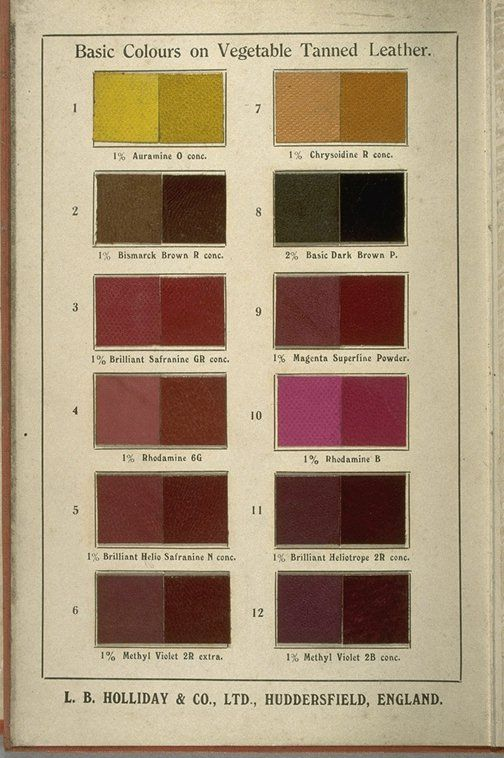 Dyestuffs For All Classes Of Leather. Huddersfield, England: The Company,  [ca. This Catalog From A Leather Dyeing Firm Contains Numerous Dyed Leather  ...