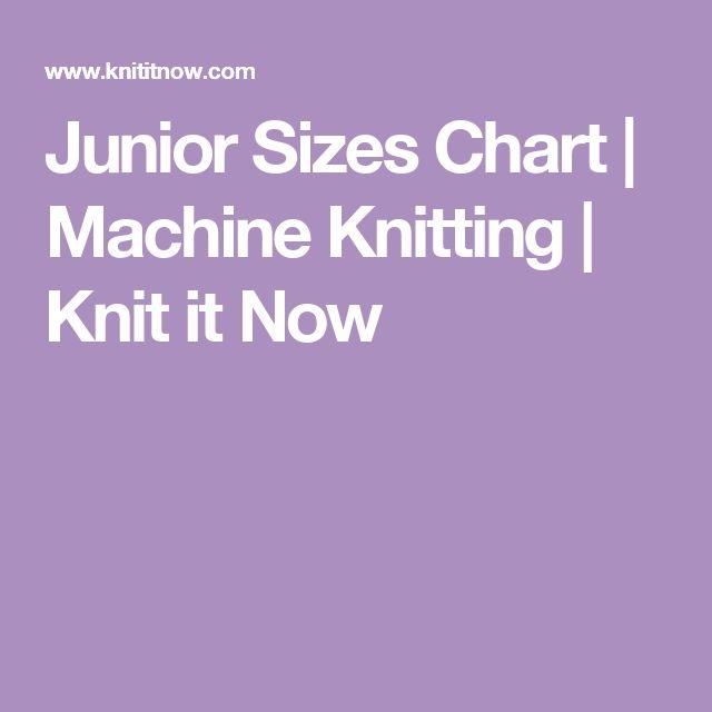 Junior Sizes Chart | Machine Knitting | Knit it Now