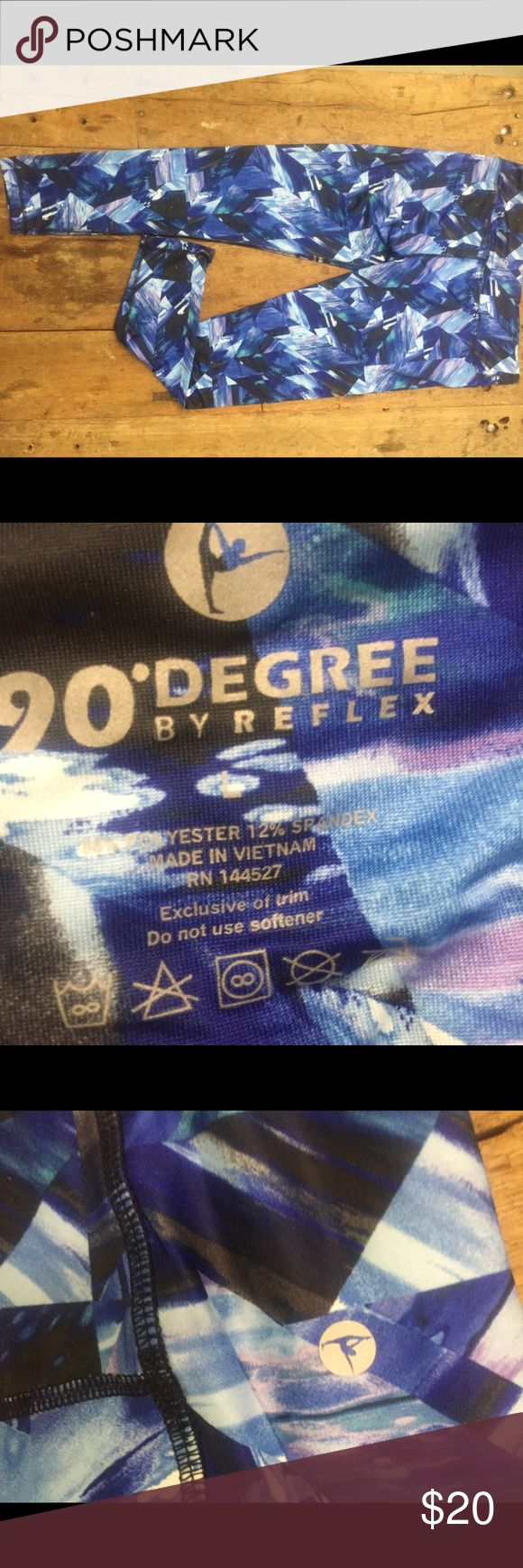 """90 Degree By Reflex Performance Activewear Pants 90 Degree By Reflex Performance Activewear - Printed Yoga Leggings. Worn once. Waist 16"""". Inseam 28"""". 88% polyester and 12% spandex.  Last photo to show fit. Location 1024. 90 Degree By Reflex Pants Leggings"""