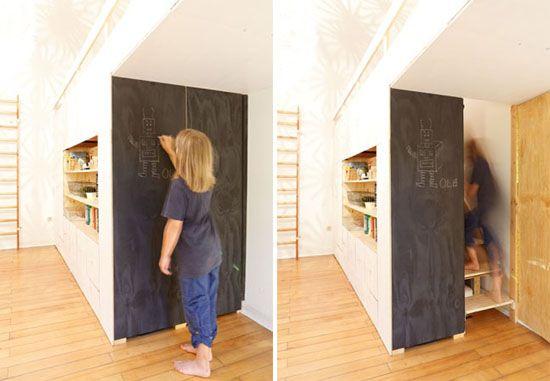 Chalkboard door flips open to reveal staircase to loft bed - küche selber bauen aus holz