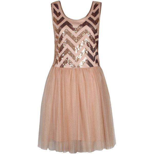 Boohoo Megan Zig Zag Sequin Tutu Dres ($32) ❤ liked on Polyvore featuring dresses, boohoo dresses, beige dress, sequin embellished dress, zig zag dresses and sequin dress