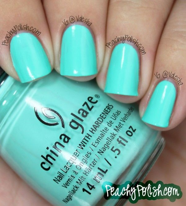 "China Glaze: Summer 2013 Sunsational Collection Cremes - Peachy Polish ""Too Yacht To Handle"" is an aqua creme."