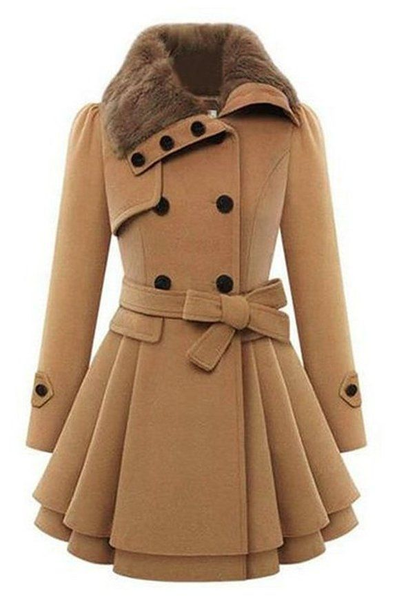 Naughty Gal Shoes : Bluetime Women's Fashion Faux Fur Lapel Double-breasted Thick Wool Trench Coat Jacket
