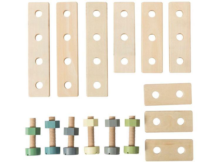 Sebra Bau-Spielset. Dieses 21-teilige Spielset von Sebra ist perfekt für Ihre kleinen Architekten/Handwerker. Das Bauset sorgt für Stunden an Unterhaltung.