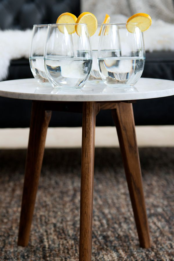 The warm walnut contrasts the cool marble perfectly.