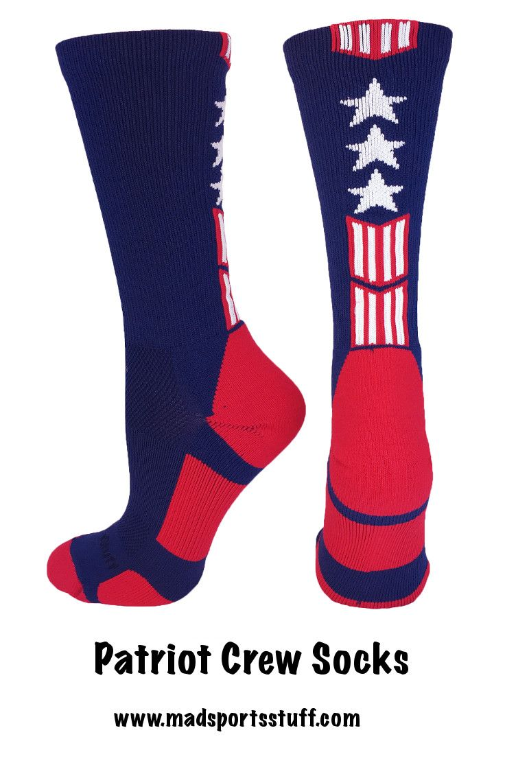 Stars and Stripes are all the rage!  Show your America pride with our Patriot crew socks.  Our socks are made with high quality materials for sports, but are great for on or off the court. #MadSportsStuff