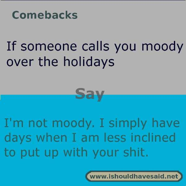 When people call you moody over the holidays, let them know how you really feel with this comeback. check out our top ten comeback lists.