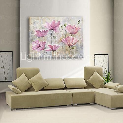 Pintada a mano Floral/Botánico Un Panel Lienzos Pintura al óleo pintada a colgar For Decoración hogareña 2017 - €90.15