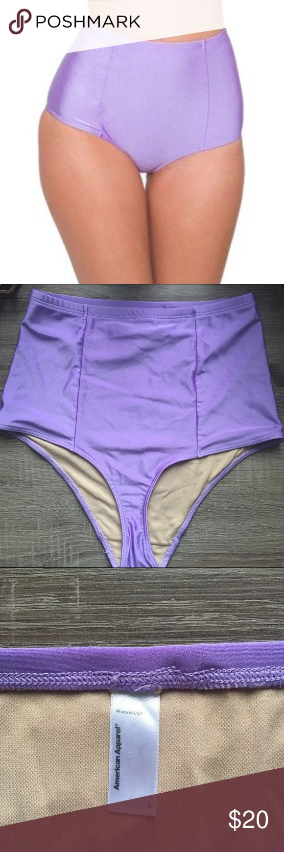 American Apparel Purple High Waisted Bikini Bottom A super cute, perfect for spring high waisted bikini bottom from American Apparel. Slimming fit, runs slightly small. Small fuzzies on back from being washed, not noticeable when wearing. American Apparel Swim Bikinis