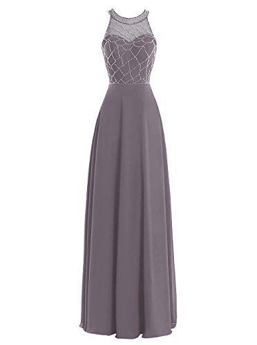 Dresstells® Women's Halter Neck Chiffon Prom Dress Wi…